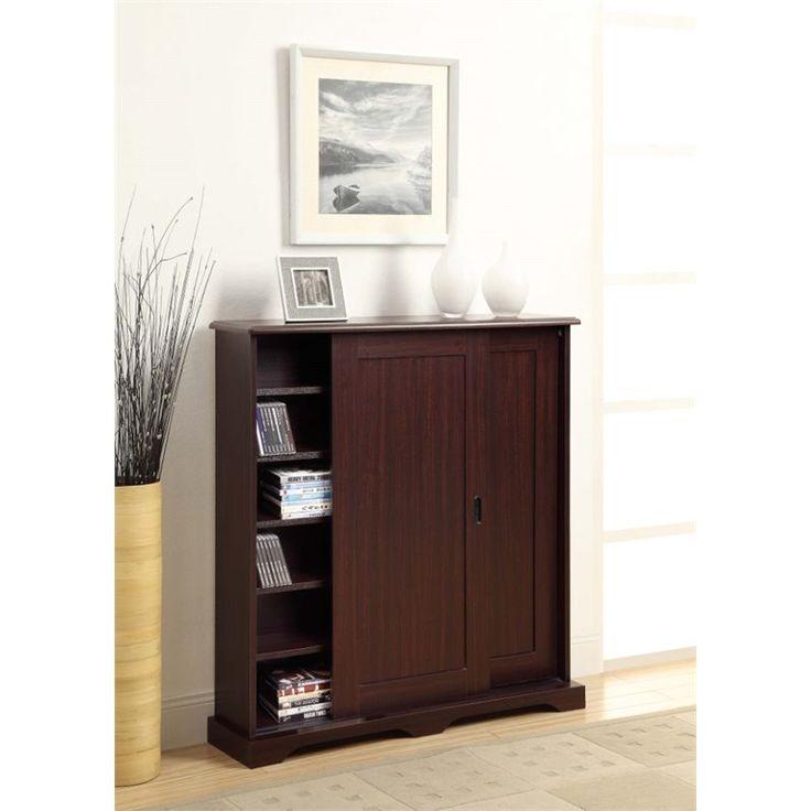 sliding door media storage cabinet in brown