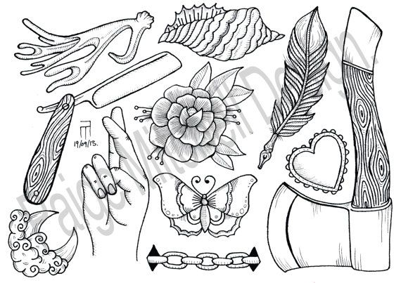 Tattoo Flash Line Drawing Converter : A line drawing flash sheet paige mitchell design £