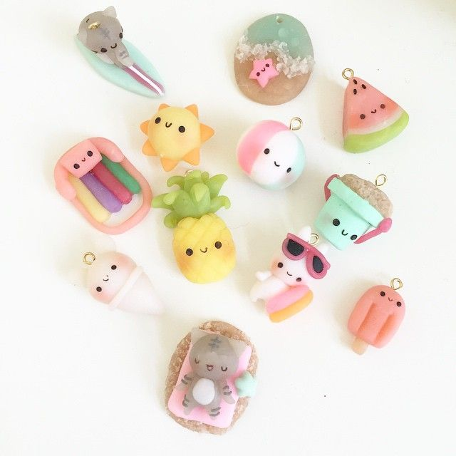 Summer Clay charms! Can you tell I'm trying to make a summer charm bracelet? Hehe. And no, I didn't film a tutorial for these charms but I'm hoping I can later..! We will see..! #summer #summerfashion #pineapple #polymerclay #clay #kawaii #charms #kawaiiclay #anime #chibi #cute #beach #surf #flyingmio #diy #charmbracelet