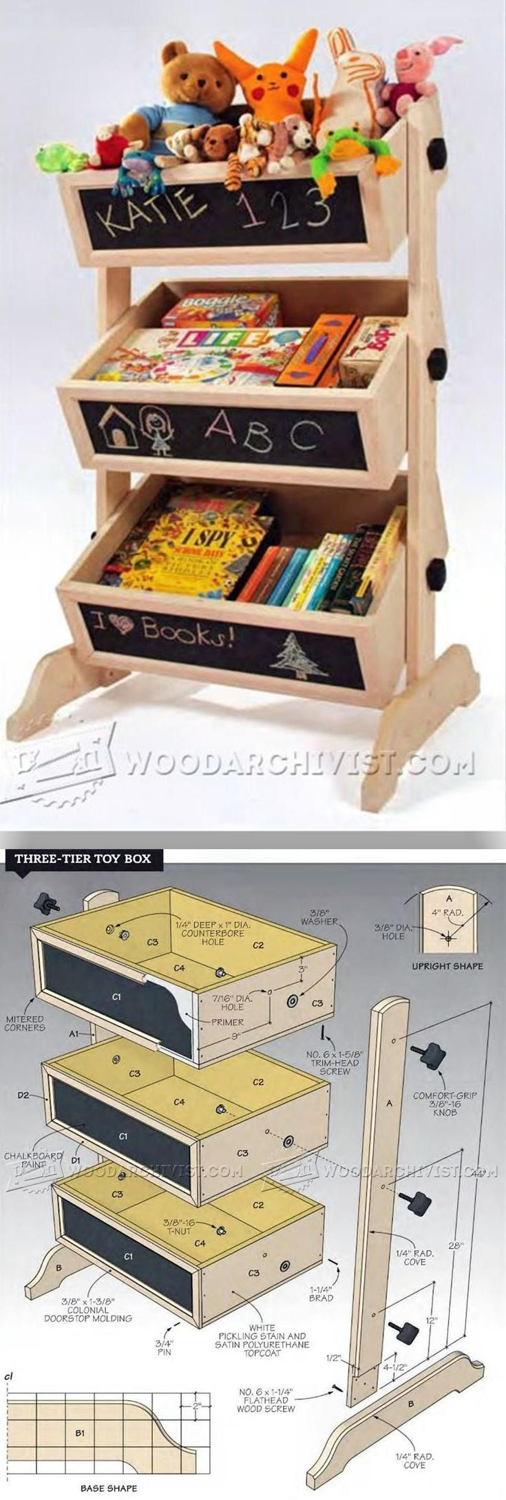 Three-Tier Toy Box Plans - Wooden Toys Plans and Projects | WoodArchivist.com