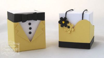 Create With Me: Cute prom/wedding favor boxes - tux and gown - made with a template from Creations by AR.  The white part lifts out of the base so you can put treats inside!
