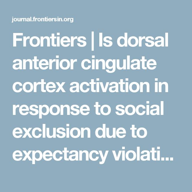 Frontiers | Is dorsal anterior cingulate cortex activation in response to social exclusion due to expectancy violation? An fMRI study | Frontiers in Evolutionary Neuroscience Note: Effects from ostracism