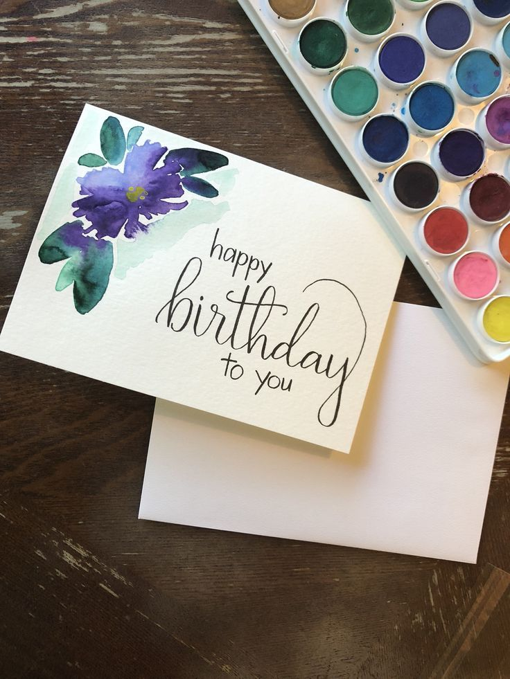 Happy Birthday Card with Watercolor Flower-Handmade Card-Birthday Card- Watercolor Card