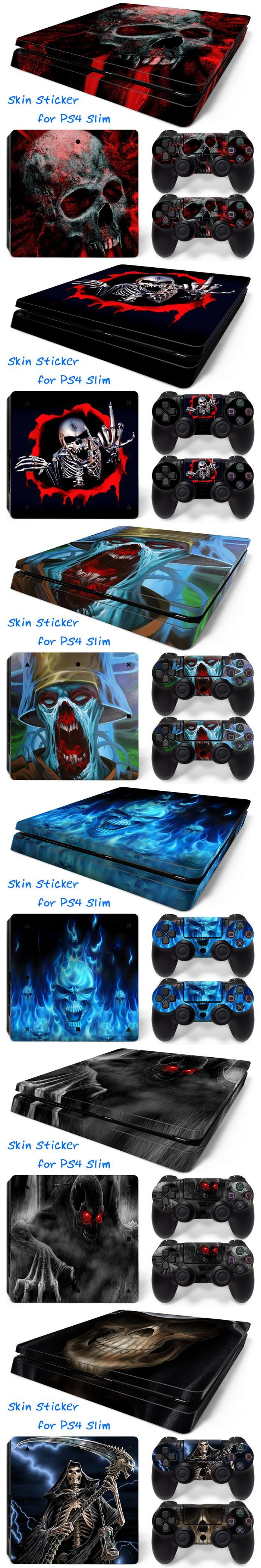 Blue Fire Skull PVC Decals Cover Vinyl Skins Stickers for PS4 Slim for Playstation 4 Slim