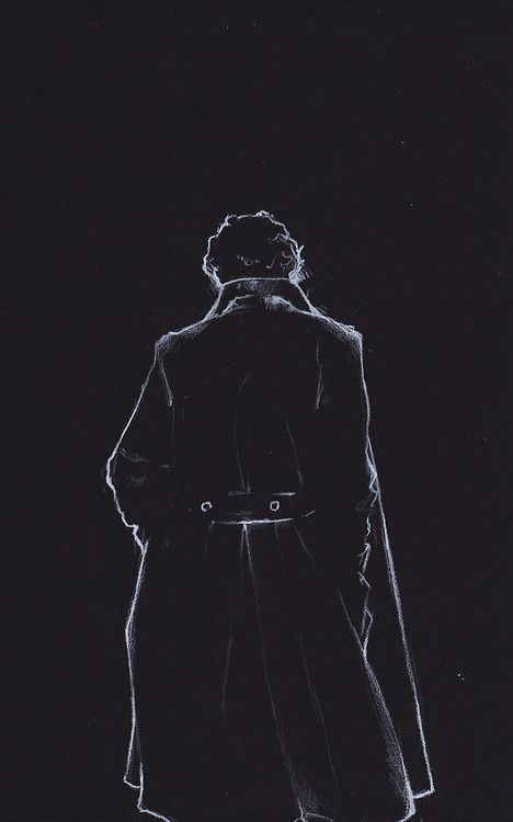 i-brodsky: Here is a proper scan of the white on black Sherlock sketch.