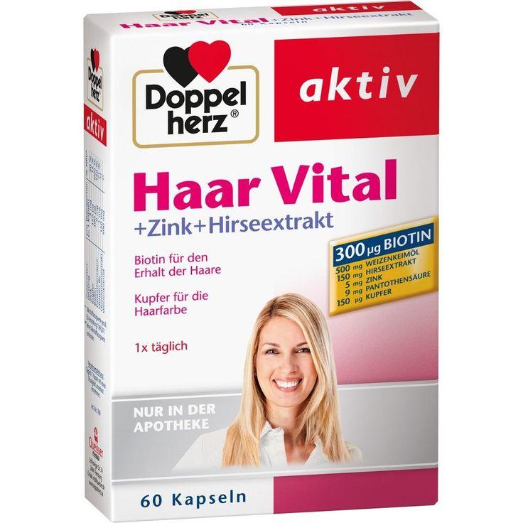 DOPPELHERZ Haar Vital+Zink+Hirseextrakt Kapseln:   Packungsinhalt: 60 St Kapseln PZN: 07263599 Hersteller: Queisser Pharma GmbH & Co. KG…