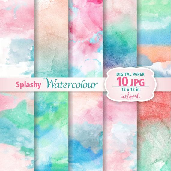 Business use. Printable Set of 10 JPG watercolor backgrounds  digital papers Green Watercolor Digital Paper Clip Art Instant download