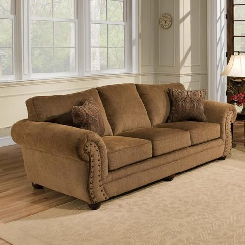 36 Living Room Decorating Ideas That Smells Like Spring: Simmons Upholstery Troy Bronze Chenille Sofa