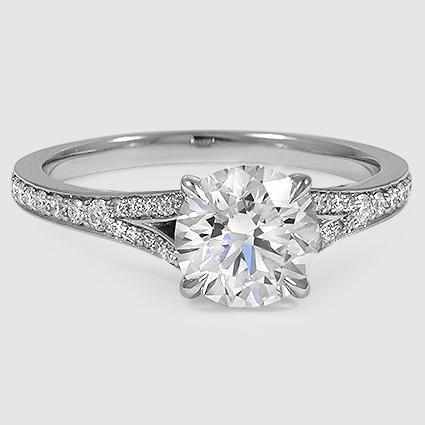 Platinum Duet Diamond Ring // Set with a 1.31 Carat, Round, Super Ideal Cut, H…
