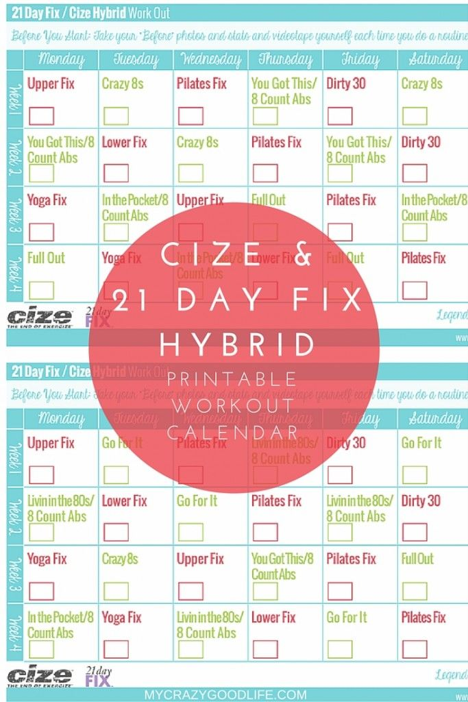 Loving both the 21 Day Fix and Cize? You can do both with this hybrid workout calendar!