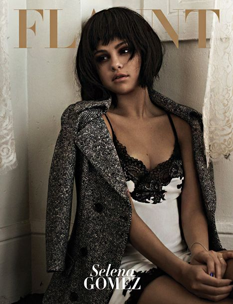 Selena Gomez wears a wig and lingerie on the November 2013 cover of Flaunt Magazine.