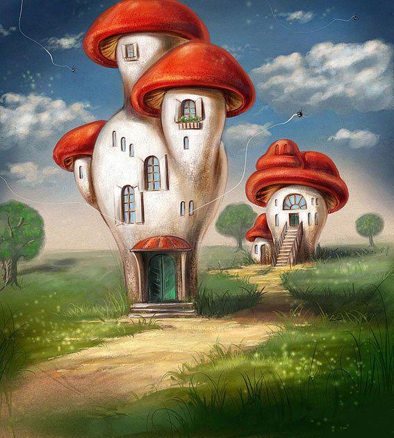 гриб домик картинки фэнтези носила руках