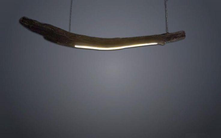 LED Holz Lampe Hängelampe aus Edlem Treibholz mit LED Streifen und Deckenhalterung