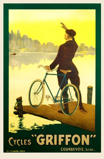 Cycles Griffon Vintage Bicycle Poster.  Hello there in the boat, do you know the way to the local hostillery sir.. Lol