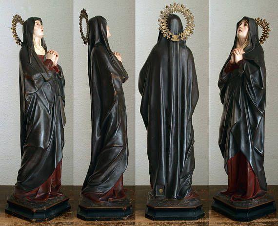 悲しみの聖母マリア像 マーテルドロローサ 宗教装飾 19世紀 カトリック芸術民藝アンティーク/479