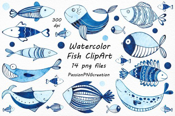 Watercolor Fish Clipart Set Includes 14 Png Files With Transparent Backgrounds Each File Is In High Quality 300dpi Watercolor Fish Fish Clipart Watercolor Sea