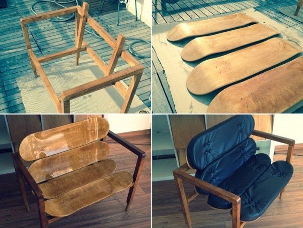 A super stylish do-it-yourself designer chair by Carlos Cardoso made of wood and blank skateboard decks.