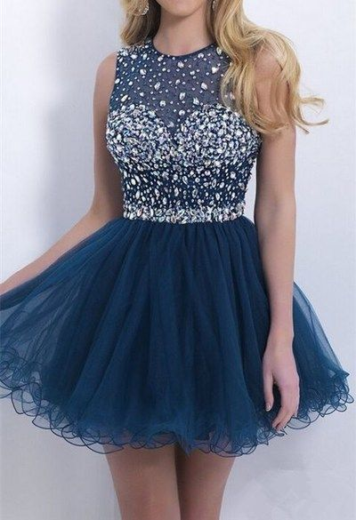 Junoesque Sleeveless Homecoming Dress,Tulle Blue Homecoming Dress,Luxury Beaded Prom Dress For Girls