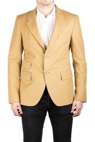 Prada Men's Notched Lapel Cotton Viscose Sport Jacket Coat Blazer Camel Mustard