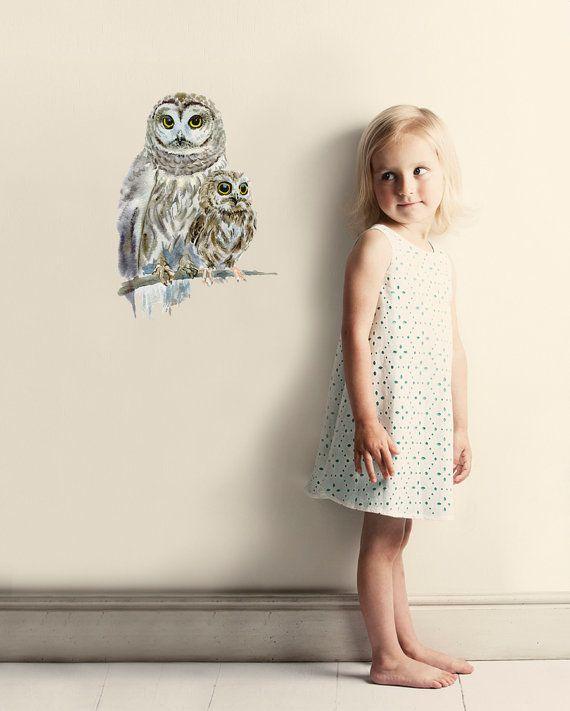 Woodland Owls Wall Decal, Fabric Wall Sticker ( Not Vinyl ) - Mini