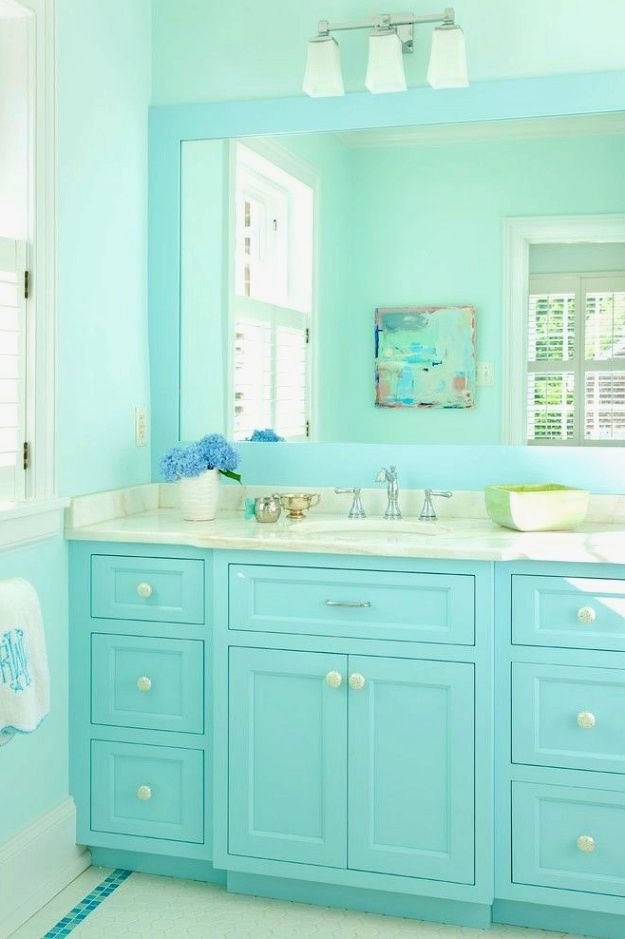Bathroom Decor Ideas Don T Rush Throughout The Wall Paint Color On A Whim Rushing A Paint Job Can Bathroom Interior Design Turquoise Bathroom Bathroom Design