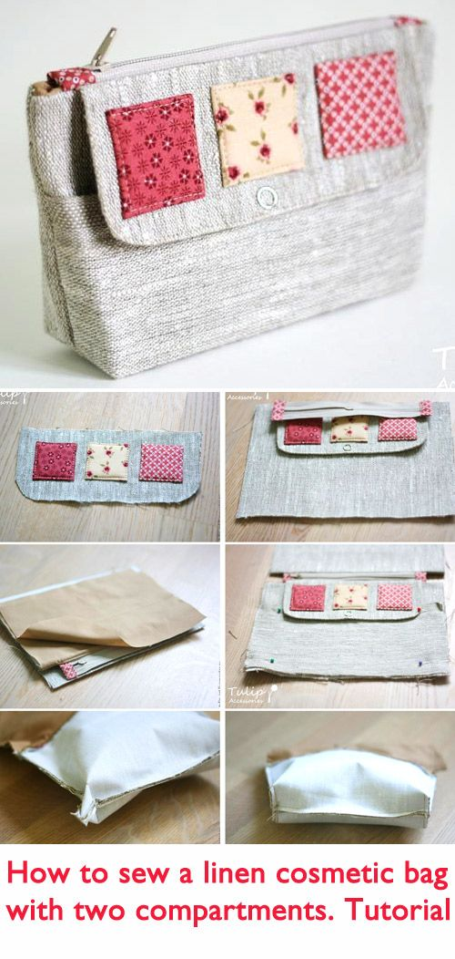 Cosmetic Bag of Linen Tutorial   http://www.handmadiya.com/2015/10/cosmetic-bag-of-linen.html