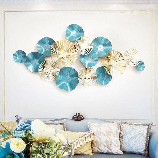 Luxury Modern Wrought Iron 3d Stereo Metal Lotus Leaf Mural Craft