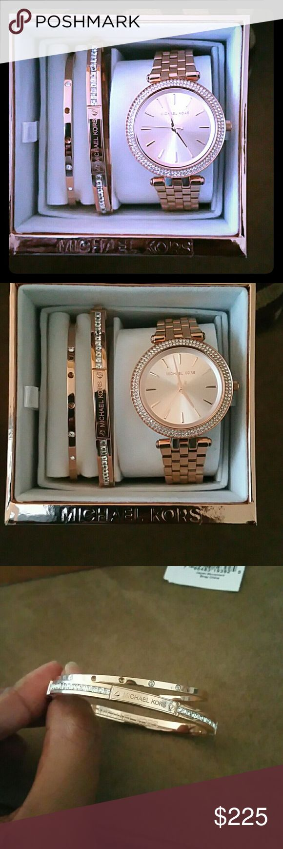 1DAY SALE! Michael Kors Mini Darci Watch/Bracelet Beautiful Michael Kors Mini Darci watch set in Rose tone. Watch features clear crystals around the dial and it is 33 MM. Michael Kors logo bracelet with clear crystals has a hinge closure. The open cuff bracelet has 2 crystals missing. Other than that great condition!  Worn twice. ***PRICE IS FIRM *** Michael Kors Jewelry Bracelets