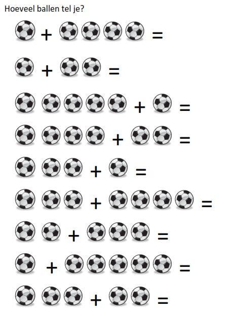 Leuk voor in de onderbouw: voetbalsommen / WK sommen! Hoeveel voetballen tel je? En hoeveel zijn dat er samen?