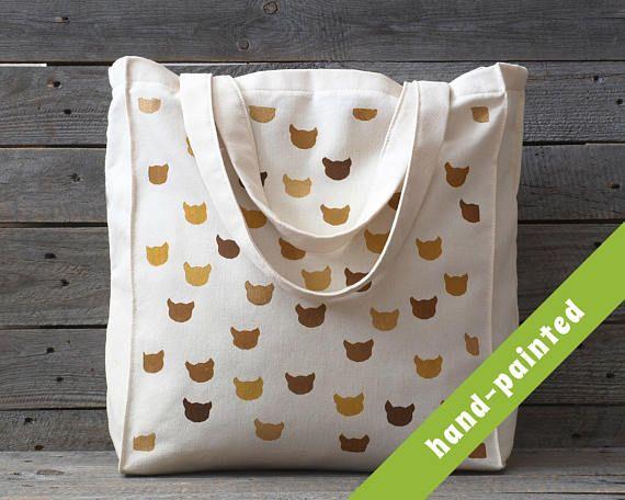 crazy cat lady cat art cat tote bag canvas bag Eco bag