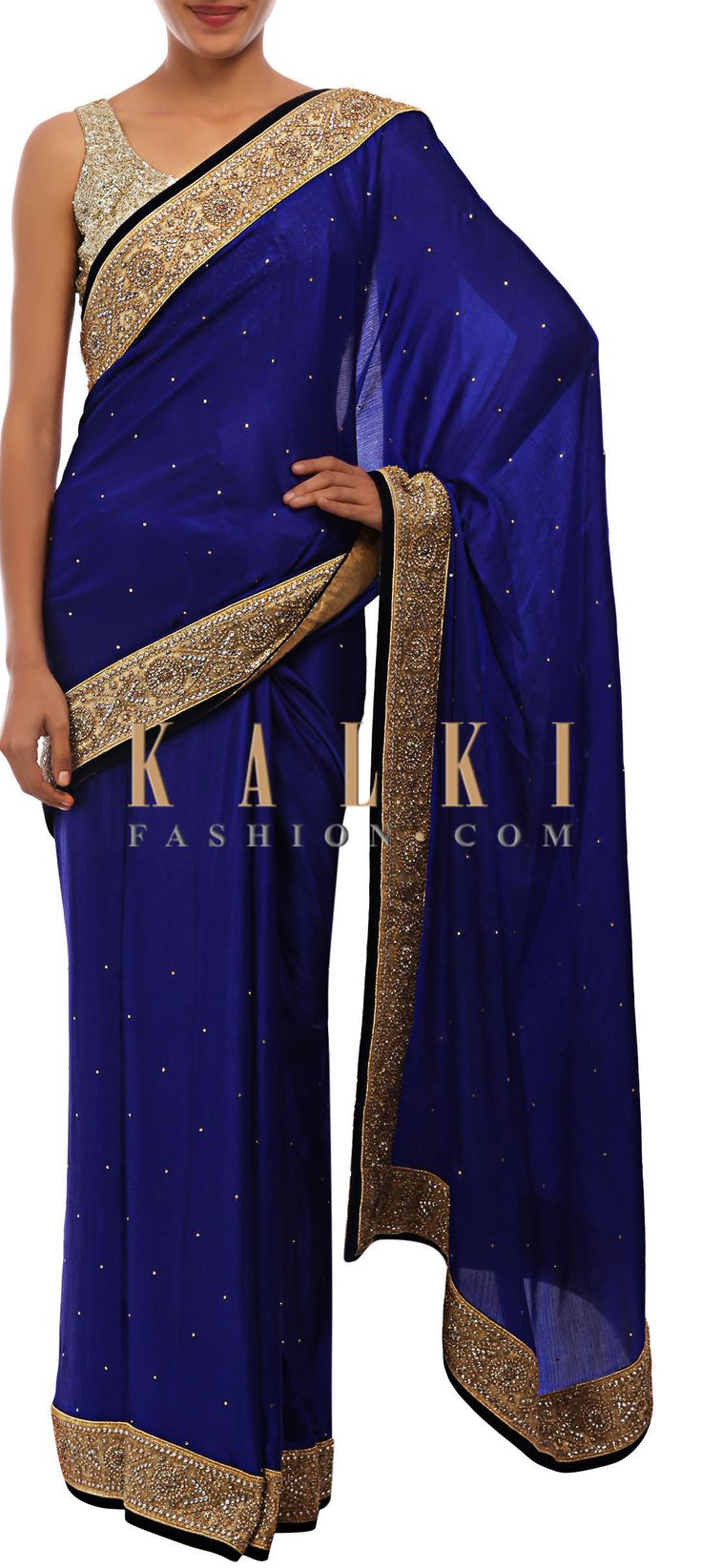 Buy Online from the link below. We ship worldwide (Free Shipping over US$100) http://www.kalkifashion.com/royal-blue-saree-embellished-in-kundan-only-on-kalki.html