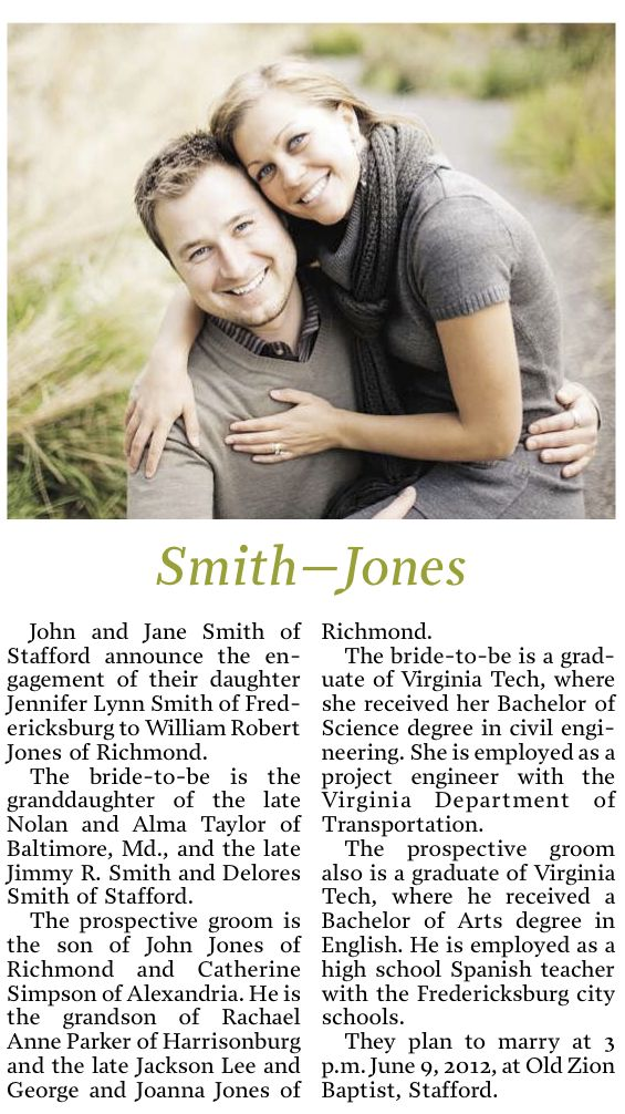 Engagement Picture Newspaper Announcement