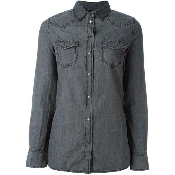 Diesel denim shirt (165 CAD) ❤ liked on Polyvore featuring tops, grey, denim shirt, gray top, shirt top, grey top and denim top