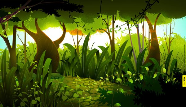 2D animation BG by seerow .com, via Behance | game trees ...