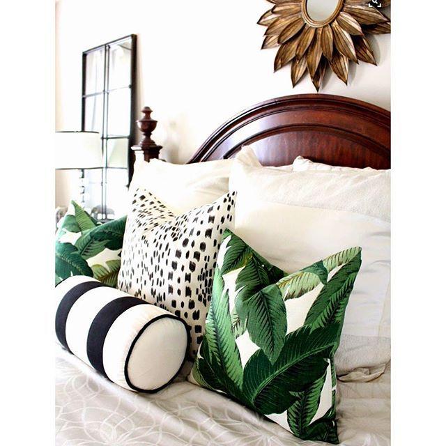 Patterns. Dark furniture, sunburst mirror