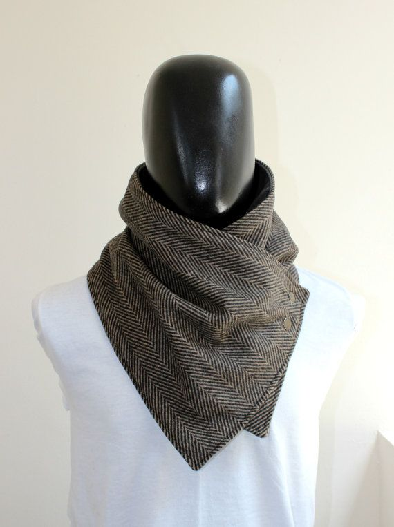 Men scarf. Men cowl,Wide, Black and brown herringbone wool with metalic snaps . Trendy, modern, chunky  and cozy.