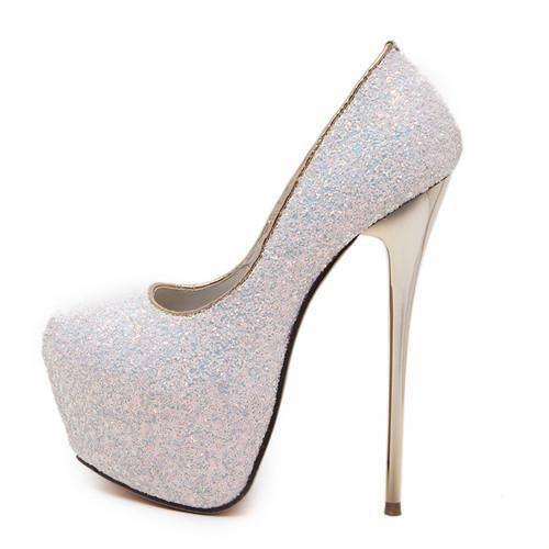 96596c9d8640 White Pink Shinny Bling Clubbing Party Stiletto Platform Round Toe High  Heels- High Street Whistles