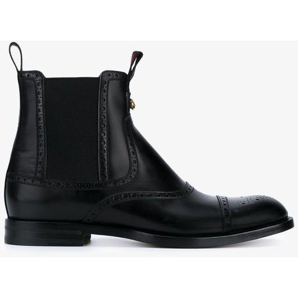 Gucci brogue ankle boots (2.790 BRL) ❤ liked on Polyvore featuring men's fashion, men's shoes, men's boots, mens black brogue boots, mens brogue boots, mens brogue shoes, mens black leather shoes and mens black leather boots