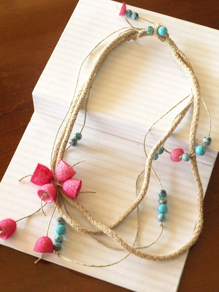 pink and blue necklace