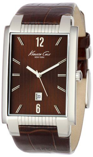 $85.00 This Kenneth Cole rectangle tank case shape from the classic collection features: a solid brown dial, sold stainless steel case , solid stainless steel case, dependable Japanese movement, high quality genuine leather strap, water resistance to 100 feet or 3 ATM.