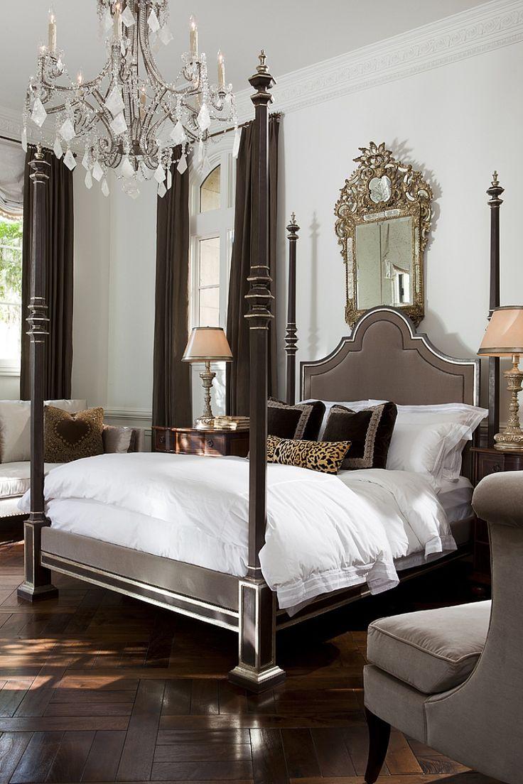Mirror nightstands contemporary bedroom kimberley seldon design - Breathtaking Bedroom Stunning Bed Stunning Chandelier Total Wow