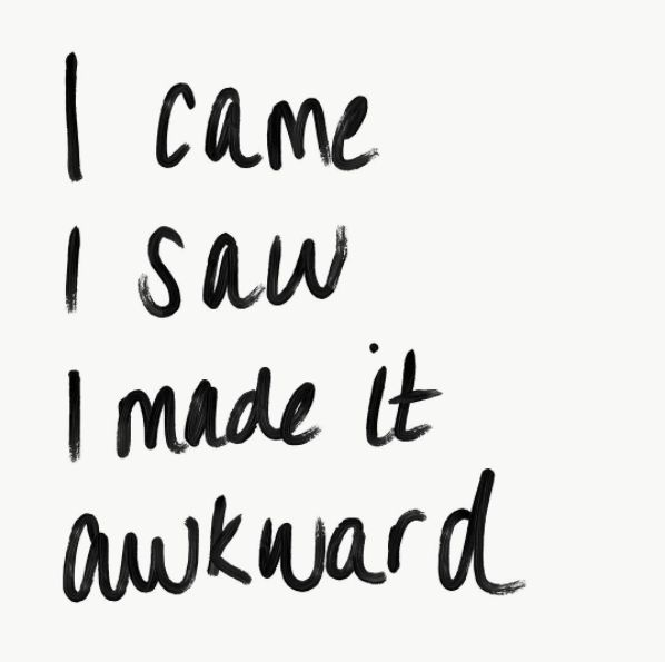 I came. I saw. I made it awkward. Time to go home now. © Ashley Mooney   House of Quips   #INTJgirl #quotes