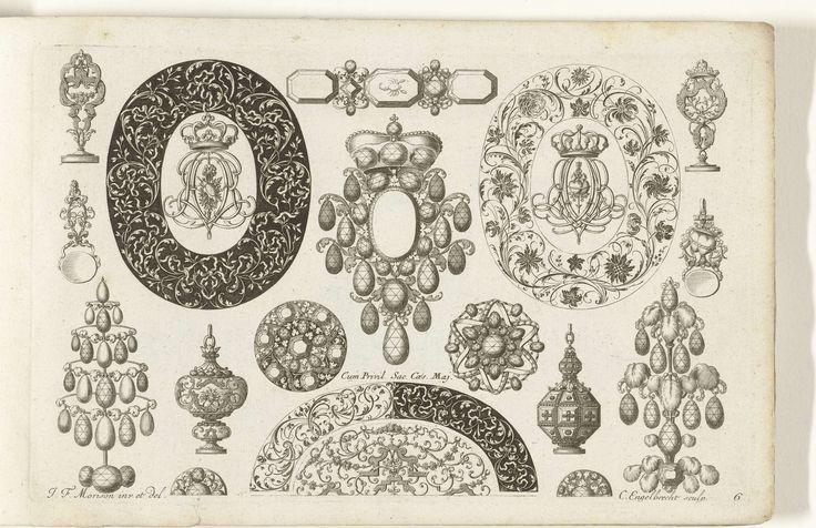 Zeventien ontwerpen voor juwelen, lakzegels en een doos, Christian Engelbrecht, 1699
