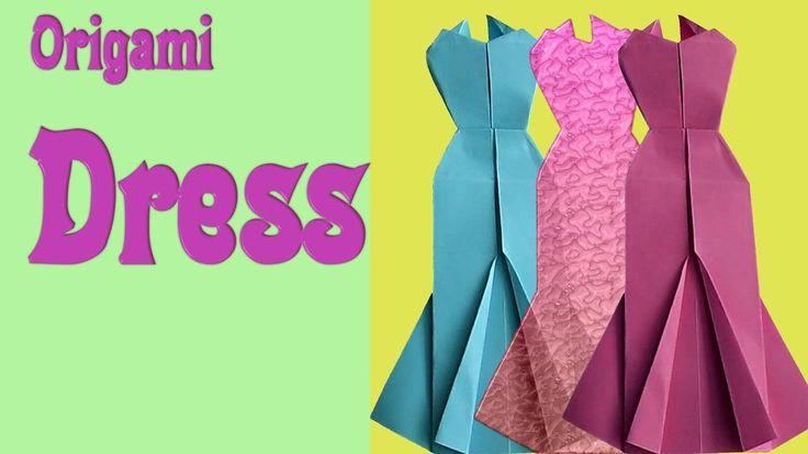 Как сделать оригами?  Бумажное  голубое платье. Видео для детей