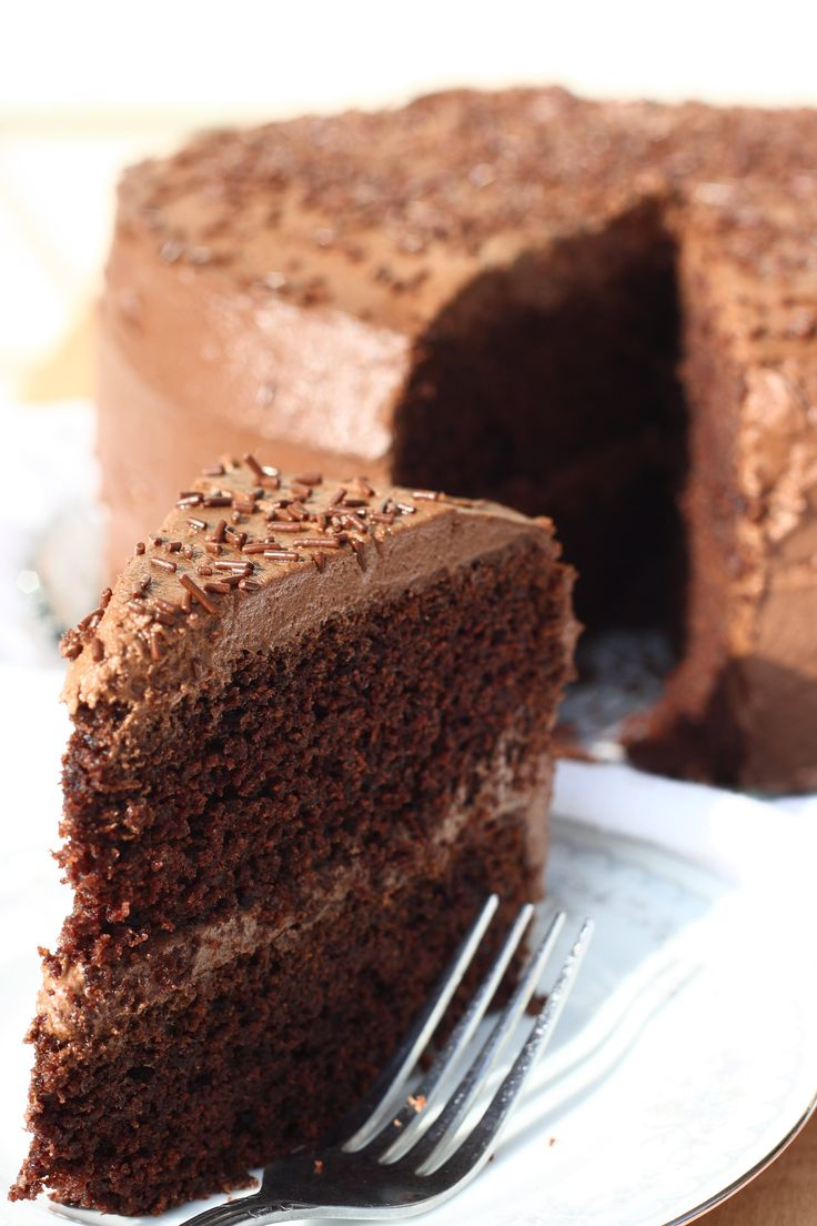 Super Moist Gluten Free Chocolate Cake by forhimandmyfamily: This is so moist you will definitely want a second piece! #Cake #Chocolate #GF
