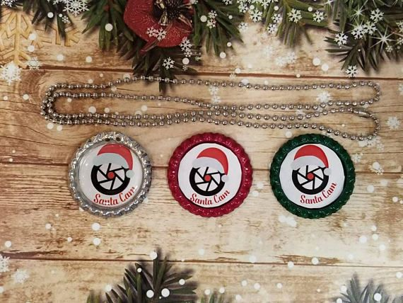 These necklaces are adorable! What a great idea for teachers or moms as they are out running errands with the kids https://www.etsy.com/listing/555925964/santa-spy-cam-bottle-cap-necklace