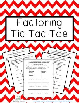 Factoring Tic-Tac-Toe is an activity for grades 8-12.Students practice factoring quadratic and cubic functions with eight different techniques by playing tic-tac-toe. Students factor given expressions and find the solution in the tic-tac-toe grid. Each student places an x or an o in the corresponding solution.