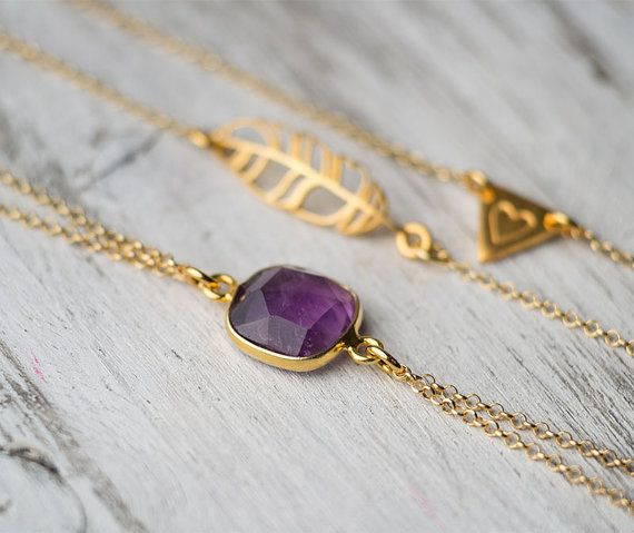 Bracelet Set Amethyst Bracelet Gold Feather by TheSilverWhale