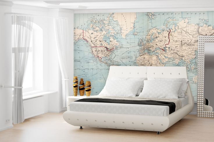 Map of the World Removable Wallpaper Map Wallpaper - A lithographed map from 1876 showing shipping routes. - Repositionable, removable and crinkle free wallpaper - Printed on premium white, lightly te