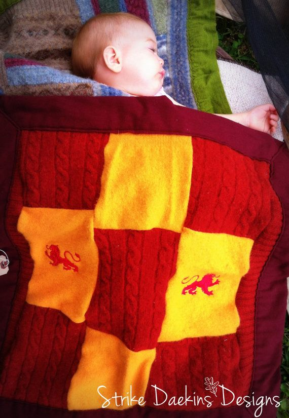 Baby Blanket in 100% Upcycled Felted Wool - Gryffindor Pride maybe?